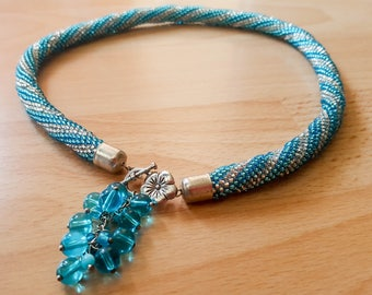 Blue/Silver Beaded Rope Necklace
