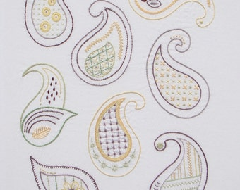 Jumbo Paisley modern hand embroidery pattern - modern embroidery PDF pattern, digital download