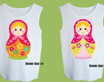 Nesting Doll, Multiple Hair Colors, One Piece Baby, Toddler Tank or tshirt Matryoshka Russian Doll by ChiTownBoutique.etsy