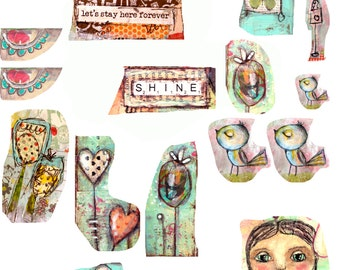 Fairy Collage 3- digital image for papercraft, a printable image, collage sheet, craft project, digital image, hearts&birds