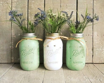 "Kitchen Photography, Country Kitchen Art, Mason Jar Print, Green Art, Shabby Cottage Farmhouse Rustic Decor, Old Jars- ""Wildflower Trio"""
