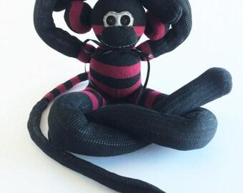 60% OFF-Sock Monkey-Ultra Long-Burgundy and Black-Striped-Handmade-Monkey-Plushie-Plush-Stuffed