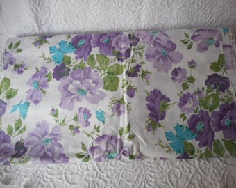 """Polished Cotton Vintage Floral Print Fabric-Purple/Green/Turquoise-8 Yards M/L-45"""" width"""