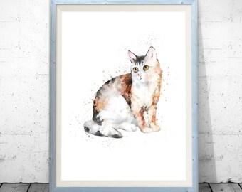 Cat illustration, cat watercolor, cat print, cat painting, cat poster, watercolor painting, cat wall decor, watercolor print cat watercolour