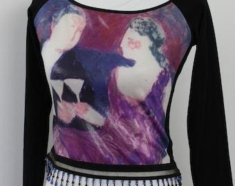 Vintage 90's Linda Segal Long Sleeve Crop Top Size M