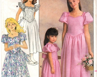 1980s Butterick 4672 Vintage Sewing Pattern Girls Formal Dress, Party Dress, Full Skirt Dress Size 7 - 8 - 10