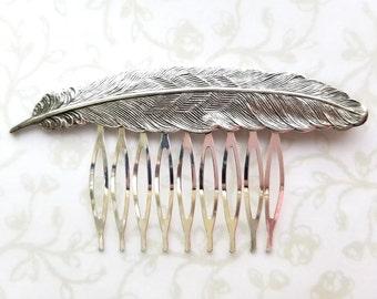 Silver Feather Hair Comb, Bridal Hair Comb, Bird, Swallow, Woodland, Wedding, Boho, Bridesmaids, Bridal Hair, Romantic