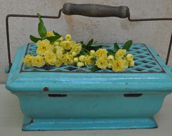 Antique French Enamelled Footwarmer - Carriage Heater Foot Warmer - Cast Iron - Turquoise enamel