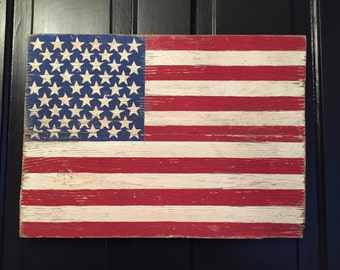 Hand painted reclaimed wood US flag