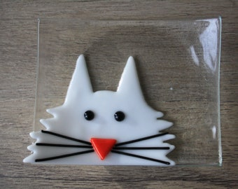 Soap Dish / Spoon Rest - White Cat - Discounted