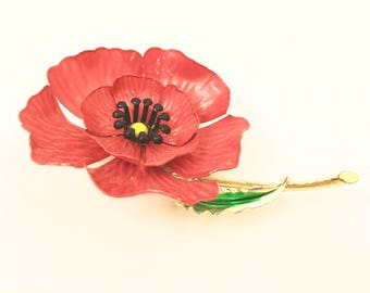 Red Flower Power Brooch Floral Pin Vintage Jewelry
