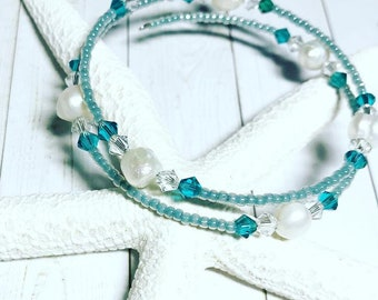 Teal Pearl and Clear Swarovski Crystal Double Wrap Bracelet