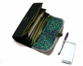 Medium envelope system wallet clutch - zipper cash organizer, coupon case gift for her grey slate wallet roomy sleeves  READY TO SHIP