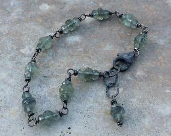 AQUAMARINE Bracelet, sterling silver bracelet, Aquamarine jewelry March birthstone, handmade bracelet artisan jewelry for her, blue gemstone
