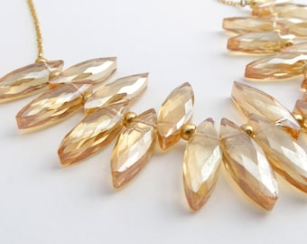 Amber Glass and 14 Karat Gold Necklace