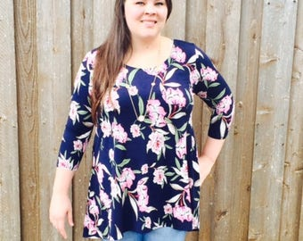 Style By Chris Yeargan Top Navy/Mauve