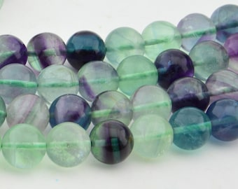 15.5  Inch Full Strand  Natural Mix  Fluorite 10MM   Round  Bead