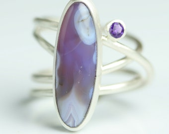 Statement Ring - Amethyst Ring - Amethyst Agate Cocktail Ring - Size 7 3/4