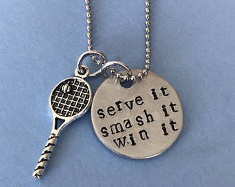 Tennis racquet charm necklace hand stamped metal jewelry serve it smash it win it