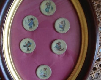 Ltd.. Edition set of6 miniature Hummel pins in a magnifying frame