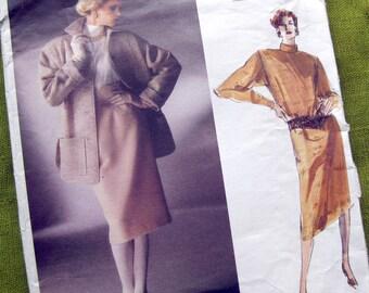 1980s Vogue Paris Original 1638 - Christian Dior - Designer Fall Jacket Skirt Dress - UNCUT FF // Size 12