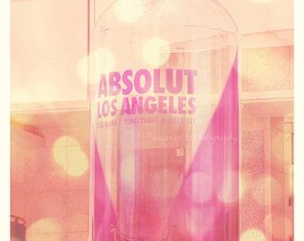 Absolut Los Angeles photo, LA photography, pink decor, LA print, girlie, nightlife, vodka, Hollywood, purple, bar art, La La Land series