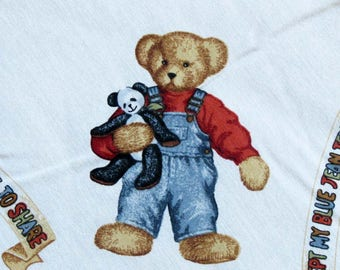 Bear Fabric, Blue Jean Teddy Toss, Children's Fabric,24 Inches, Daisy Kingdom, 4038,  Teddy Bear with Overalls, White Fabric