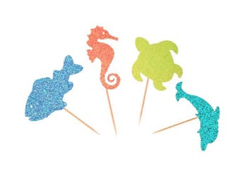 Assorted Sealife  Cupcake Toppers-(Seaturtle, Dolphin, Seahorse, Fish)