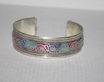 Turquoise bracelet, Coral Bracelet, Boho bracelet, Silver Bracelet, Tribal Bracelet, Gypsy bracelet, Hippie Bracelet BTBB114