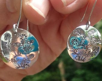 Sterling Silver Flower Stamped Disc Earrings
