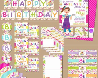 Art Party Printable Bundle - Birthday Art Invitation - Invite Thank You Favor Tags Water Bottle Labels Cupcake Toppers - Art Party Printable