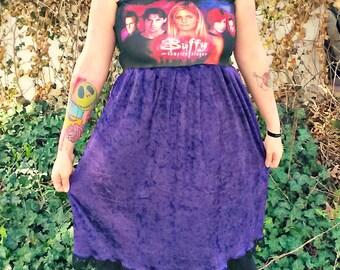 custom Buffy the Vampire Slayer purple crushed velvet babydoll Dress