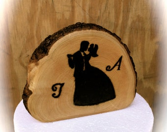 Personalized Wooden Wedding Cake Topper - Rustic Wooden Cake Topper