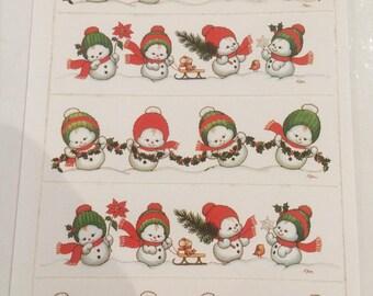 Chrismas,snow man Postcard with  Stickers -holland.Morehead Inc