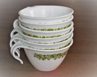 6 Vintage Corelle Spring Blossom Crazy Daisy Tea Coffee Cups Hook Handles