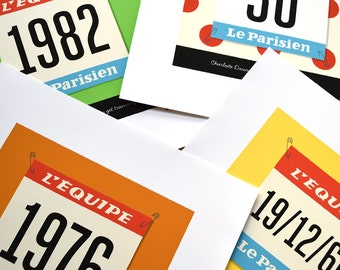 PERSONALISED Tour de France Race Number Print, Customised Jersey Colour, Number and Text, Gift for Cyclist