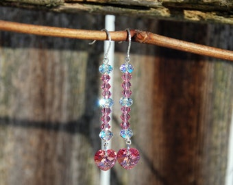 Pink Swarovski heart earrings. AB Swarovski earrings. Pink and clear Swarovski Crystal earrings. Handmade pink earrings, pink heart earrings