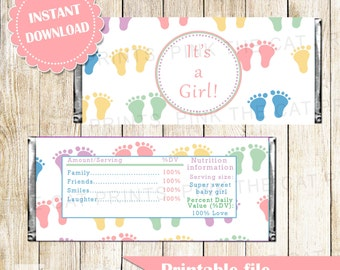 Baby Feet Candy Bar Label - Its a Girl Baby Shower Wrapper Pastel Colors Printable INSTANT DOWNLOAD