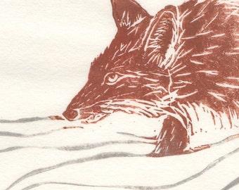 Vixen in the Snow Linocut - Winter Scene with Fox or Vixen in the Snow Lino Block Print