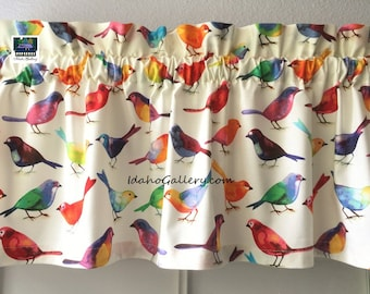 "Rainbow Birds Audubon Society Bird Lovers Aviary Bird Watchers Valance Kitchen Curtain Short Curtain 11"" Long x 41"" Wide at Idaho Gallery"