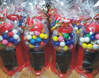 """Gumball Machine / Bank filled with Gumballs - Giftwrapped / 6.25"""" TALL"""