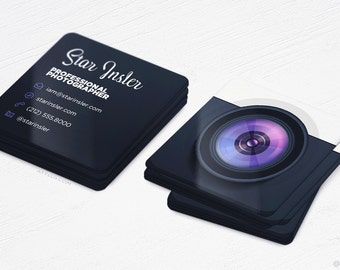 Mini Photographer Business Cards - Realistic Camera - Square Die-Cut Cards - Design and Printing - 250, 500, 1000, 2500 | FREE Shipping |