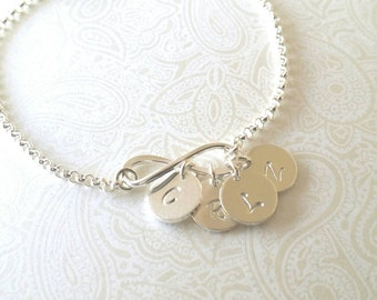 Infinity  Bracelet in Sterling Silver with Four Initial Charms--Gift for Sister, Sisters Gift