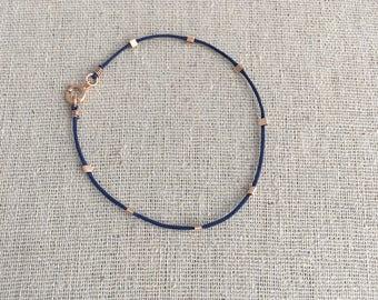 Navy String Bracelet Dainty Minimalist