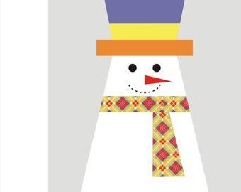 Snowman quilt paper piecing Pattern INSTANT DOWNLOAD PDF