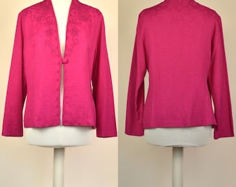 Vintage 80s Karin Stevens bright pink blazer, one button and embroidery size 16