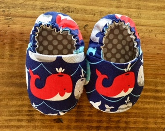 Whale Baby Booties, Crib Shoes, Baby Slippers, Baby Gift, Soft Sole Shoes