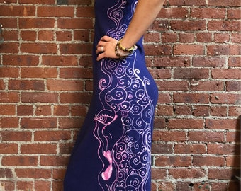 Art dress- reverse hand painted-bleach design- swirls-abstract-cotton maxi dress- deep purple- floor length l-soft comfy everyday dress