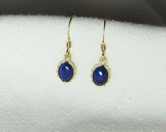 Natural Lapis Lazuli Earrings 14Kt Gold Filled Fancy Setting 7x5mm Oval Semiprecious Gemstone
