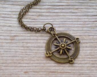 Antiqued Brass Compass Pendant Necklace, Nautical Jewelry, Bronze Compass Necklace, Nautical Compass